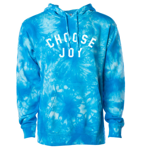CHOOSE JOY Tie Dye Hoodie - Aqua Blue
