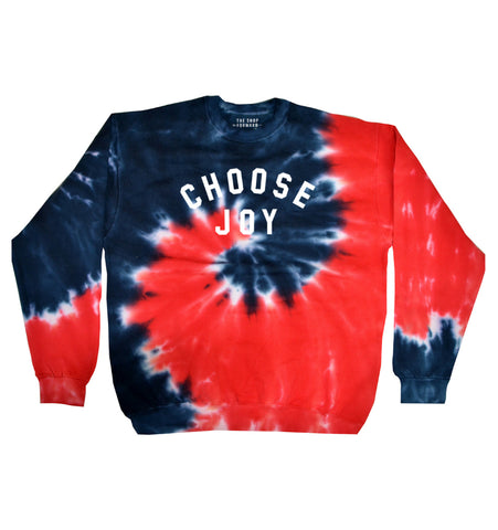 CHOOSE JOY Unisex Patriotic Tie Dye Pullover