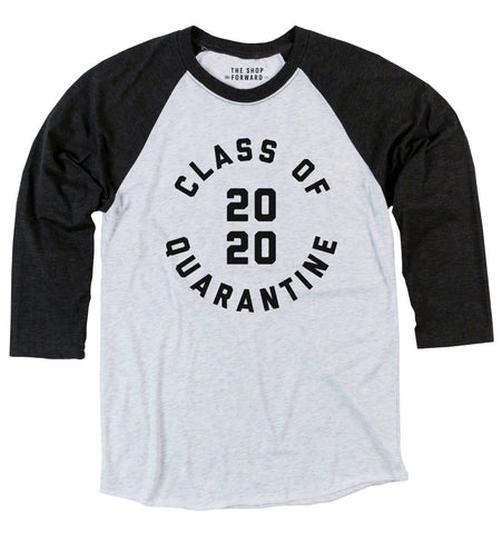 Class of Quarantine 2020 Unisex Baseball Tee - Black & White