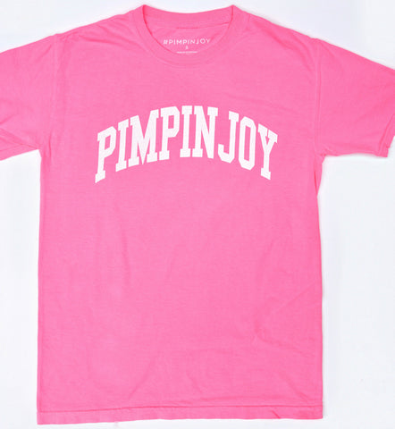 #PIMPINJOY Collegiate Unisex Relaxed Fit Tee - Neon Pink