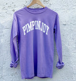 #PIMPINJOY Collegiate Unisex Long Sleeve Tee - Purple