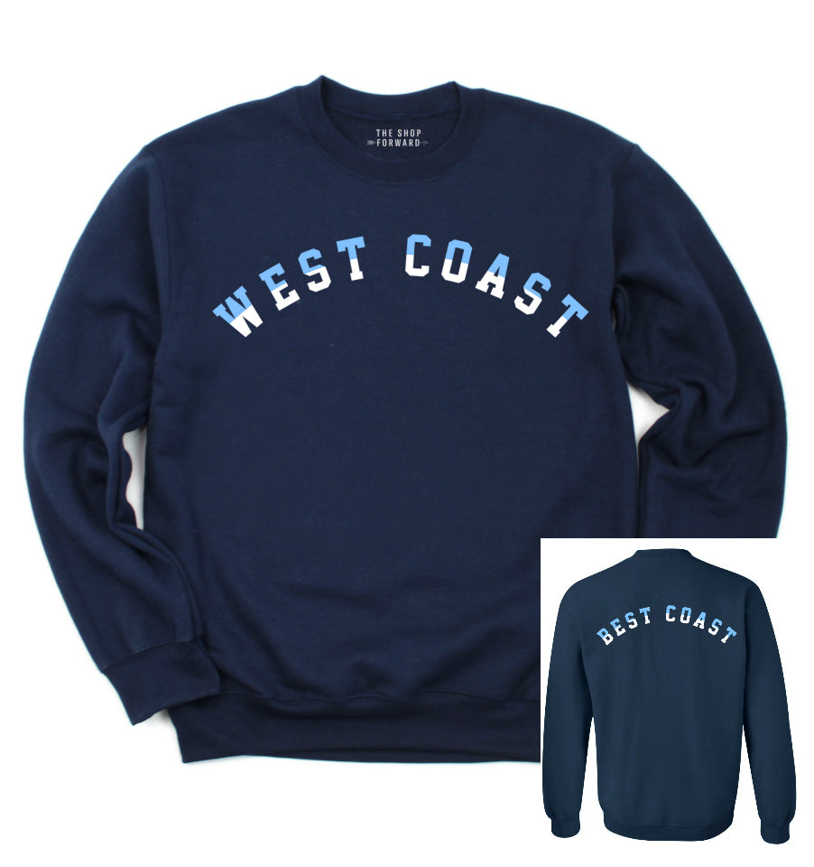 'West Coast Best Coast' Unisex Fleece Pullover - Navy