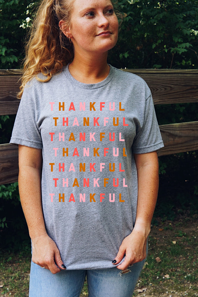 THANKFUL Repeat Unisex T-Shirt - Grey Multi