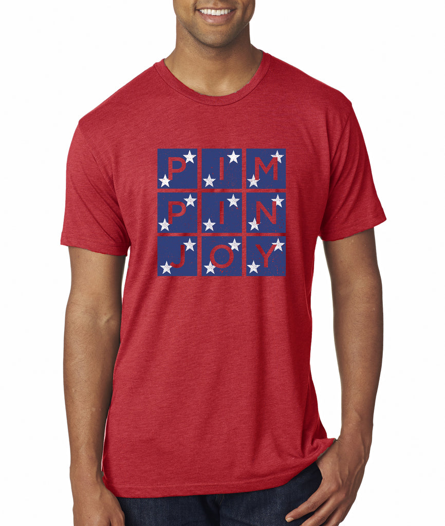 Adult #PIMPINJOY Unisex T-Shirt - Red w/ Stars
