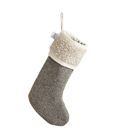 Beige and Gray Knit Stocking