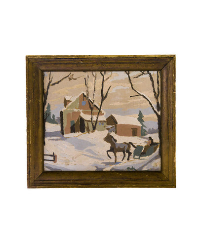 Vintage Winter Sleigh Painting