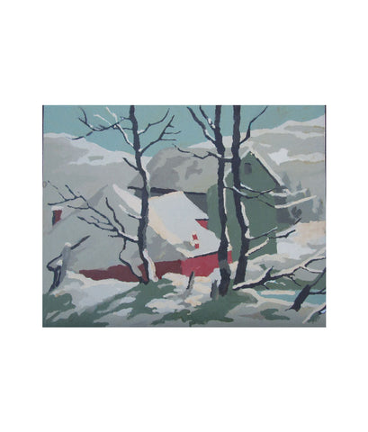 Winter Farm Oil Painting 1