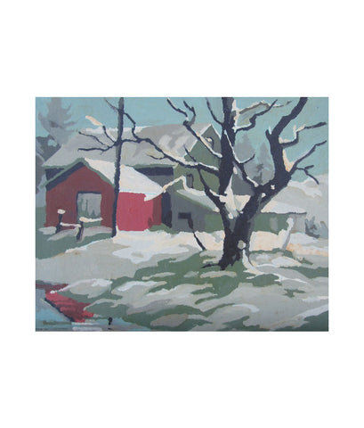 Winter Farm Oil Painting 2