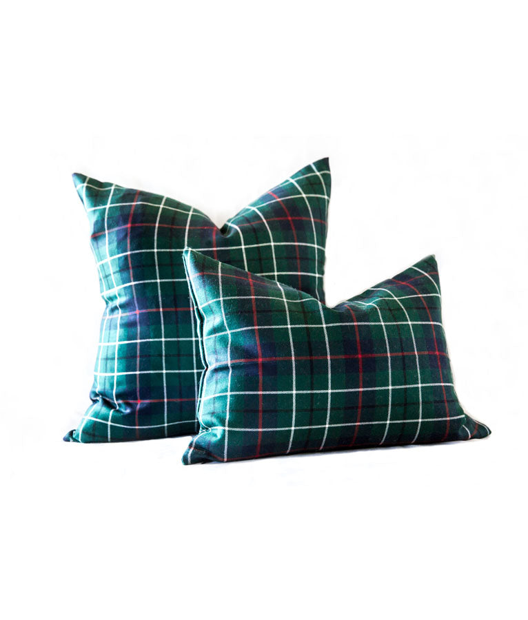 Wool Tartan Plaid Lumbar Pillow Cover