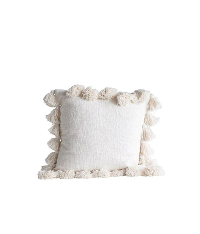 Cotton Cream Pillow Cover With Tassels