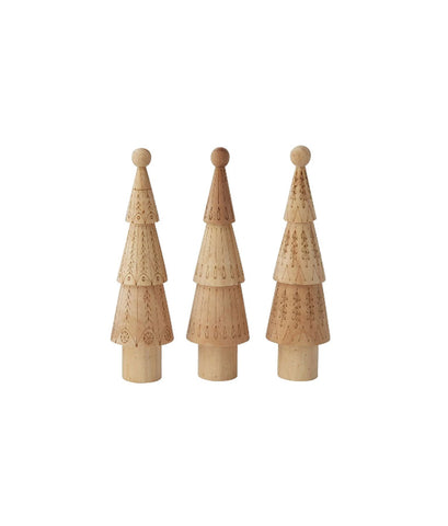 Wood Tree With Laser Cut Pattern, Set of 3