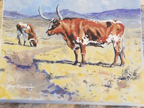 """ Longhorns in the Big Pasture ""-Jerry McAdams"