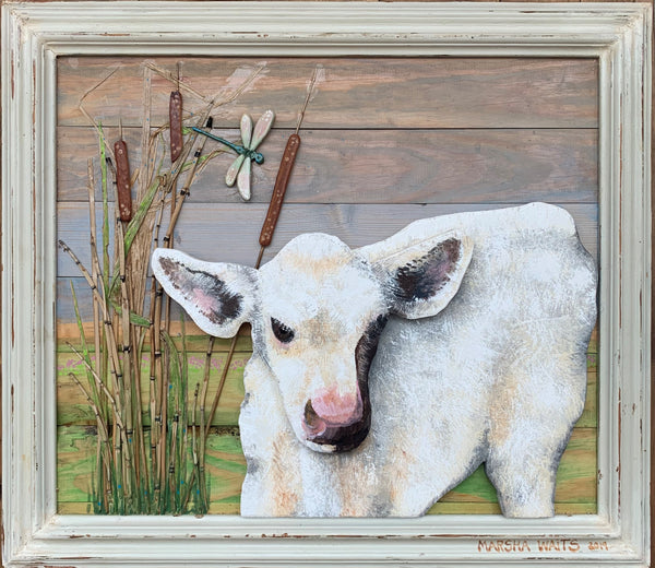 Spring Calf in the Cattails -Marsha Waits