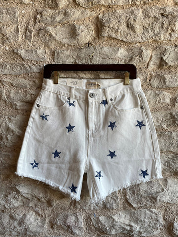 White Denim Shorts with Stars