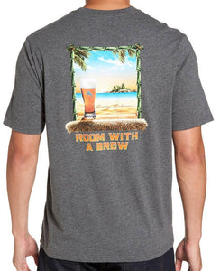 Tommy Bahama Room with a Brew T-Shirt - Charcoal Heather