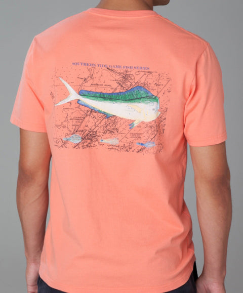 Southern Tide Game Fish Series Dolphin Pocket T-Shirt, Persimmoon