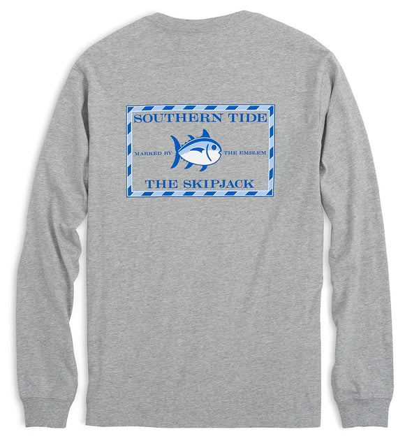 Southern Tide Long Sleeve Heathered Original Skipjack Tee - Gray Heather