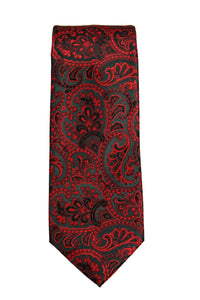 Geoffrey Beene Red and Black Paisley Tie