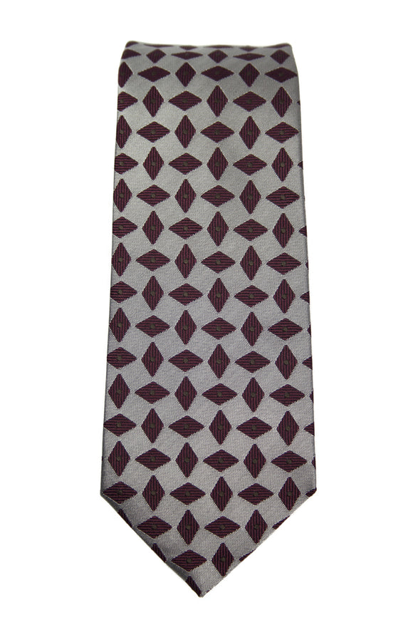 Hugo Boss Gray Geometric Silk Tie