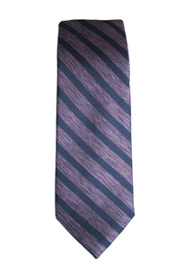 Haines & Bonner Purple and Navy Stripe Silk Tie