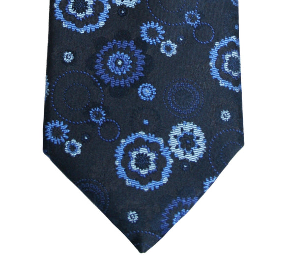 Simon Carter Navy Floral Medallion Silk Tie