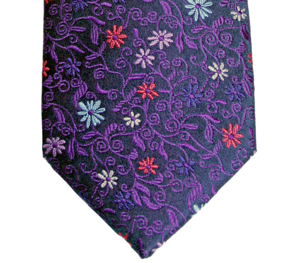 Simon Carter Navy and Purple Floral Silk Tie