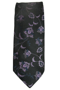 Ted Baker Black and Purple Floral Silk Tie