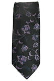 Ted Baker Black and Purple Floral Silk Necktie