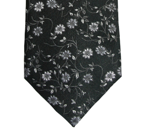 Simon Carter Black and Gray Floral Silk Tie