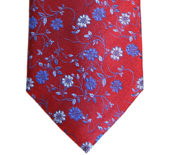 Simon Carter Red Floral Silk Tie