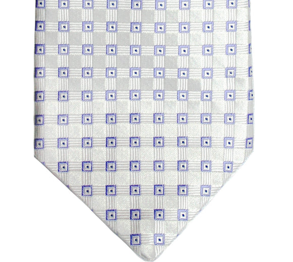 Ike Behar White and Lavender Dotted Box Silk Tie