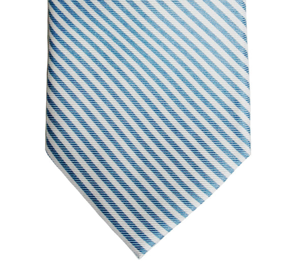 Tommy Hilfiger Blue and White Stripe Silk Tie