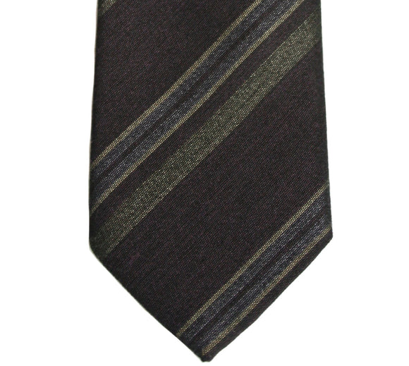John Varvatos Brown Stripe Silk Blend Tie