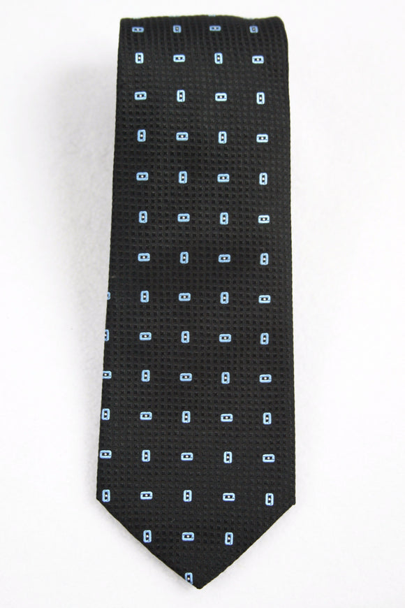 Hugo Boss Tailored Black Textured Geometric Silk Necktie