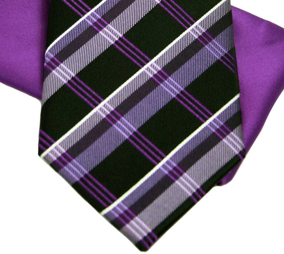 Sean John Purple and Black Plaid Silk Set