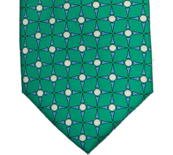 Southern Tide Augusta Green Tee Time Silk Print Tie