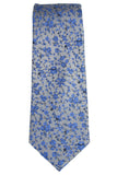 Haines & Bonner Gray and Blue Floral Silk Necktie