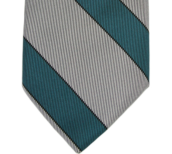 Nicky Green and Gray Stripe Silk Tie
