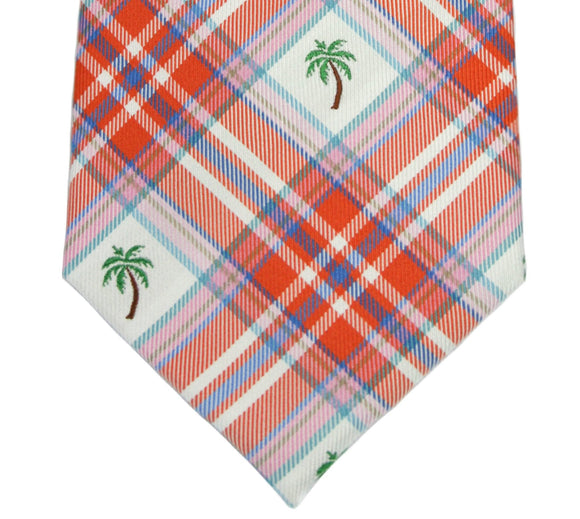 Tommy Hilfiger Orange Plaid Palm Tree Silk Necktie