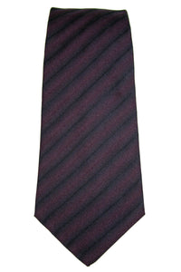 Pringle of Scotland Purple and Black Stripe Silk Tie