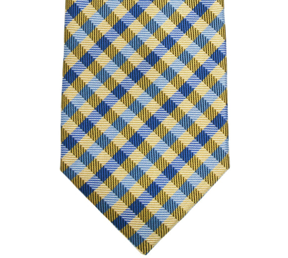 Haines & Bonner Yellow/Blue Plaid Silk Tie