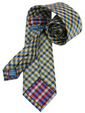 Haines & Bonner Yellow/Blue Plaid Silk Handmade Necktie