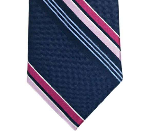 Michael Kors Navy with Pink Stripes Silk Tie