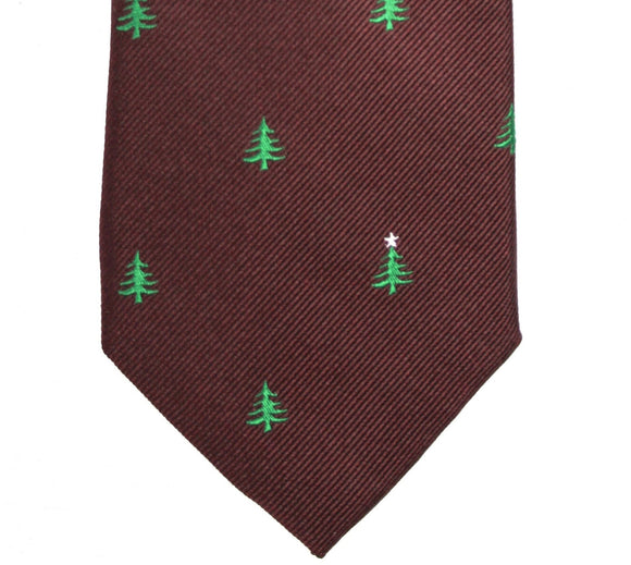 Tommy Hilfiger Burgundy Christmas Tree Tie