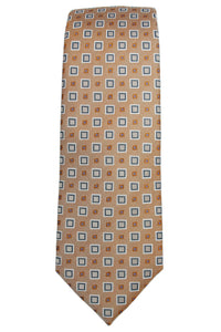 Yves Saint Laurent Gold Geometric Silk Tie