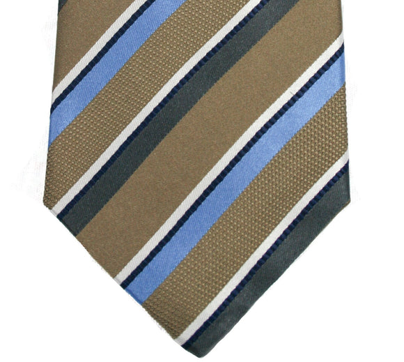 Countess Mara Brown and Blue Stripe Silk Necktie