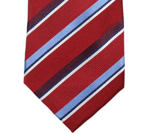 Countess Mara Red and Blue Stripe Silk Necktie