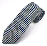 Corneliani Black and White Geometric Silk Neck Tie