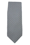 Corneliani Black and White Geometric Silk Necktie