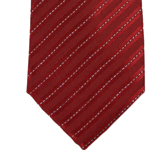 Geoffrey Beene Red Metallic Pinstripe Silk Blend Tie